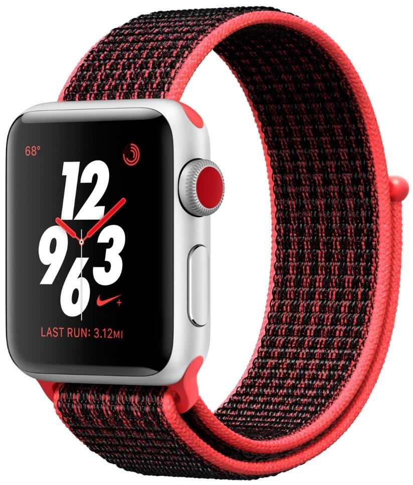 Apple Watch Series 3 Nike+ Cellular 38мм, корпус из серебристого алюминия, спортивный браслет Nike цвета «яркий тёмно-красный/чёрный» (MQL72)
