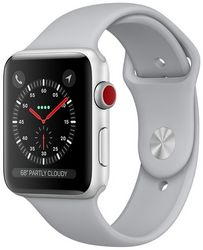 Apple Watch Series 3 GPS + Cellular, 38mm Silver Aluminum Case with Fog Sport Band (MQJN2)