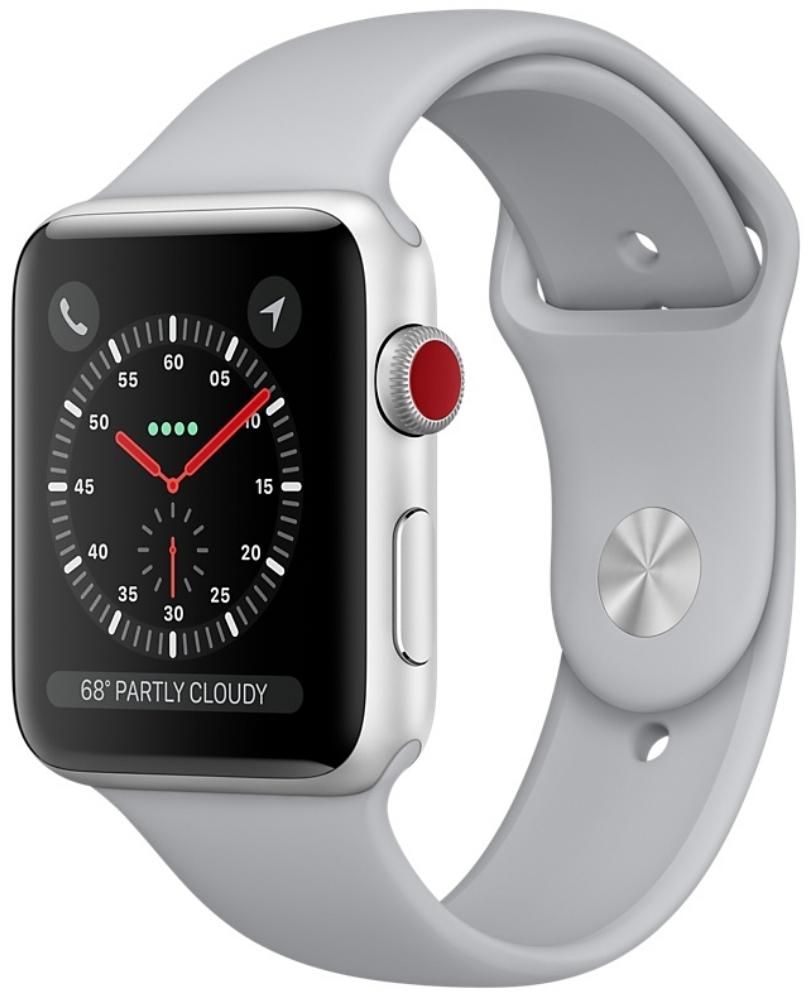 Apple Watch Series 3 Cellular 38мм, корпус из серебристого алюминия, спортивный ремешок дымчатого цвета (MQJN2)