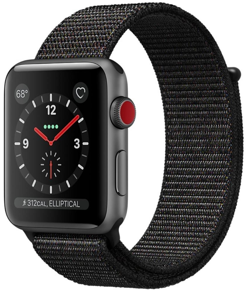 Apple Watch Series 3 Cellular 38мм, корпус из алюминия цвета «серый космос», спортивный браслет чёрного цвета (MRQE2)