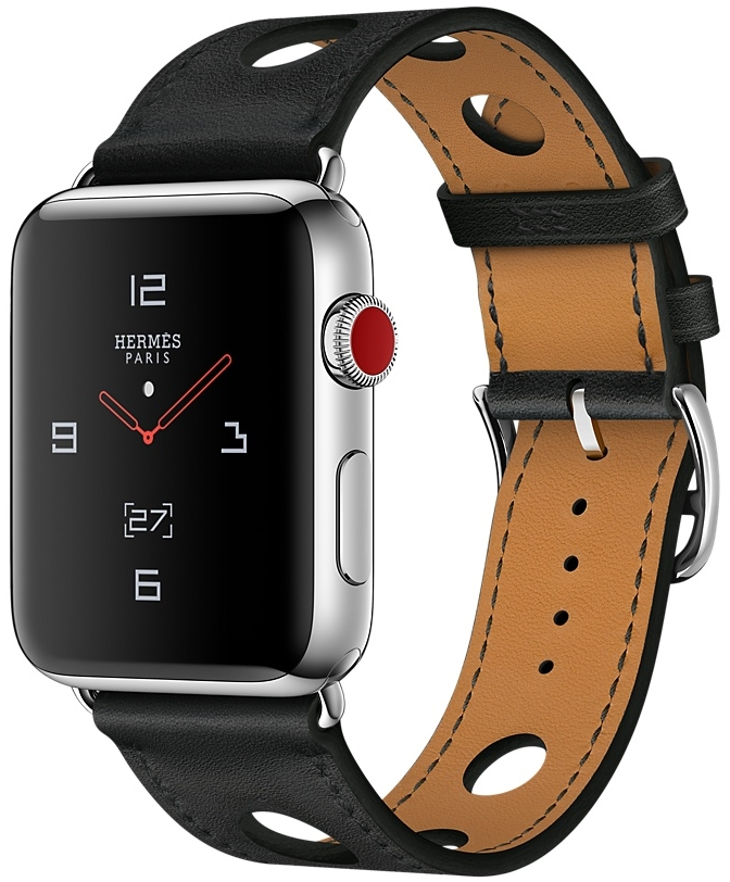Apple Watch Series 3 Hermès Cellular 42мм, корпус из нержавеющей стали, ремешок Hermès Single Tour Rallye из кожи Gala цвета Noir (MQLU2)