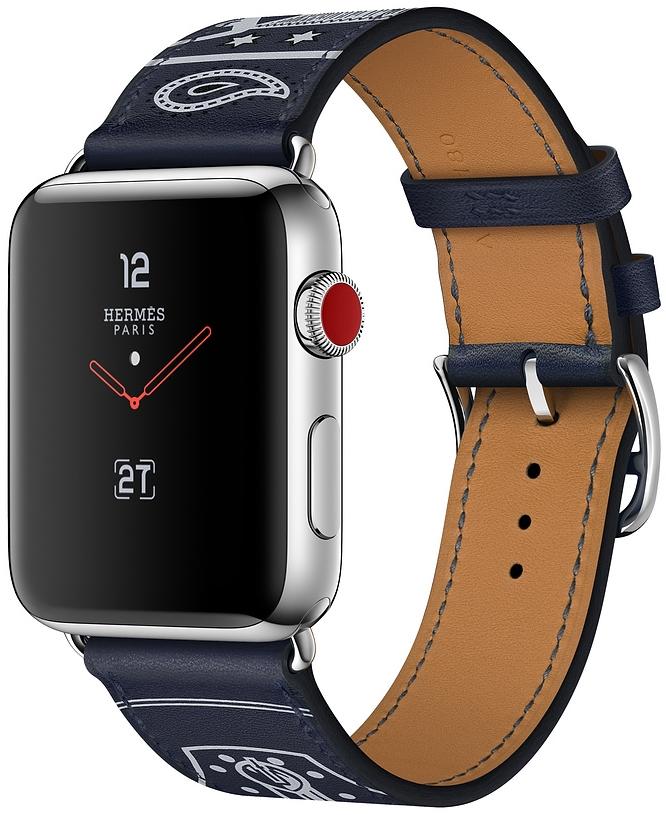 Apple Watch Series 3 Hermès Cellular 38мм, корпус из нержавеющей стали, ремешок Hermès Single Tour Eperon d'Or из кожи Gala цвета Marine (MQLN2)