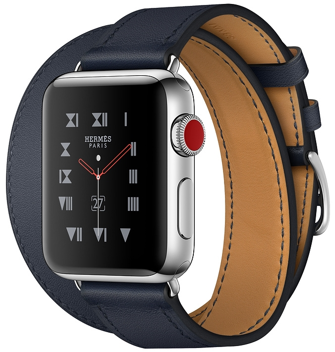 Apple Watch Series 3 Hermès Cellular 38мм, корпус из нержавеющей стали, ремешок Hermès Double Tour из кожи Swift цвета Indigo (MQLK2)