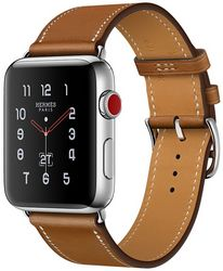 Apple Watch Series 3 Hermès Cellular 42мм, корпус из нержавеющей стали, ремешок Hermès Single Tour из кожи Barenia цвета Fauve (MQLP2)