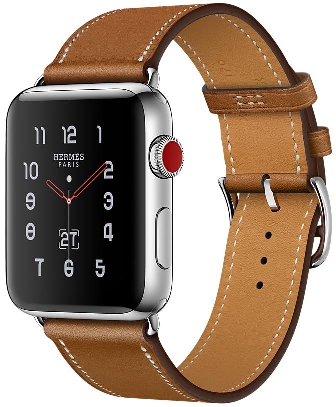 Apple Watch Series 3 Hermès Cellular 38мм, корпус из нержавеющей стали, ремешок Hermès Single Tour из кожи Barenia цвета Fauve (MQLM2)