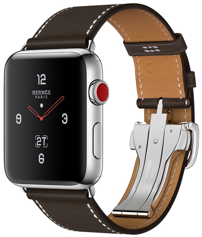 Apple Watch Series 3 Hermès Cellular 42мм, корпус из нержавеющей стали, ремешок Single Tour Deployment Buckle из кожи Barenia цвета Ébène (MQLT2)