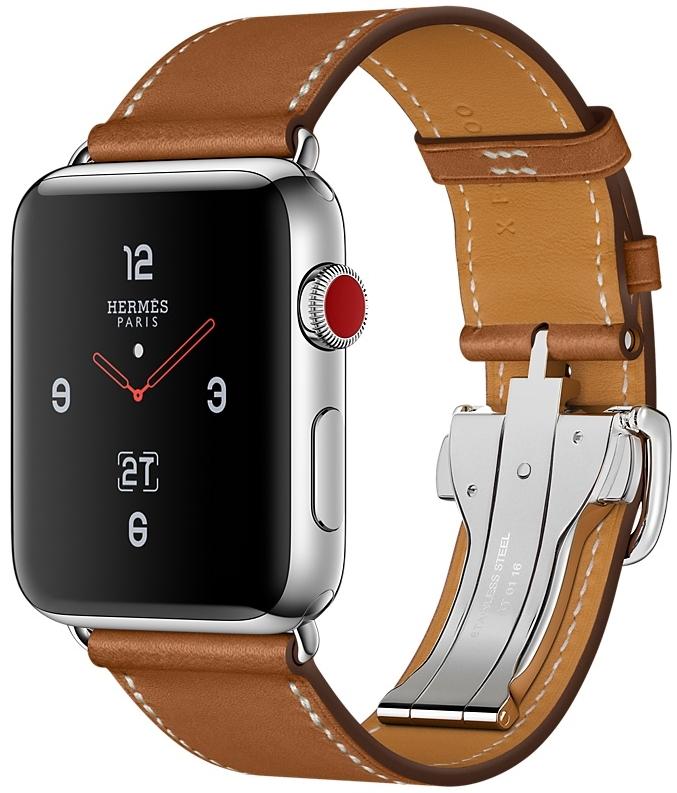 Apple Watch Series 3 Hermès Cellular 42мм, корпус из нержавеющей стали, ремешок Single Tour Deployment Buckle из кожи Barenia цвета Fauve (MQLT2)