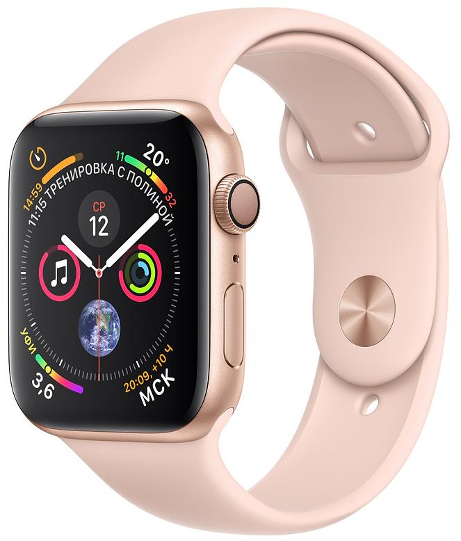 Apple Watch Series 4, 44 мм, корпус из алюминия золотого цвета, спортивный ремешок цвета «розовый песок» (MU6F2)