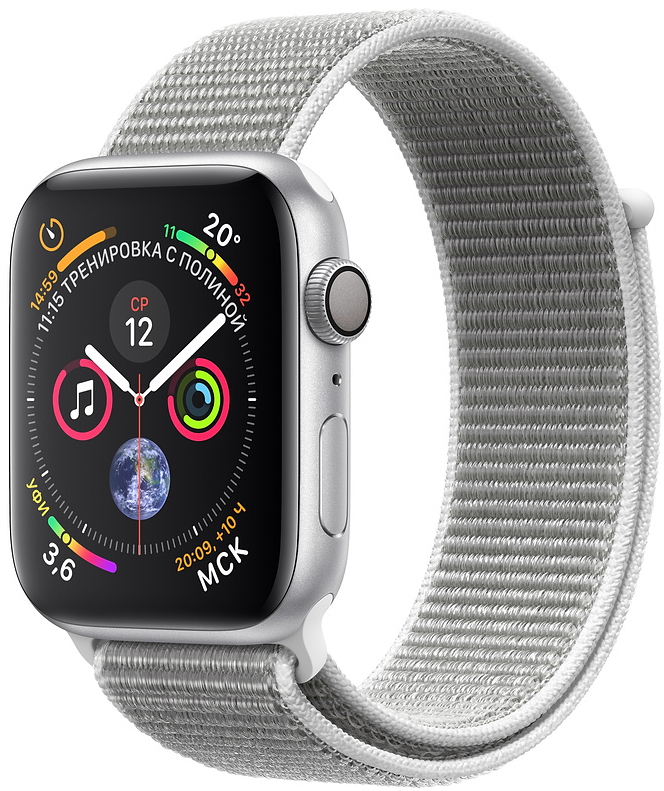 Apple Watch Series 4, 44 мм, корпус из алюминия серебристого цвета, нейлоновый браслет цвета «белая ракушка» (MU6C2)