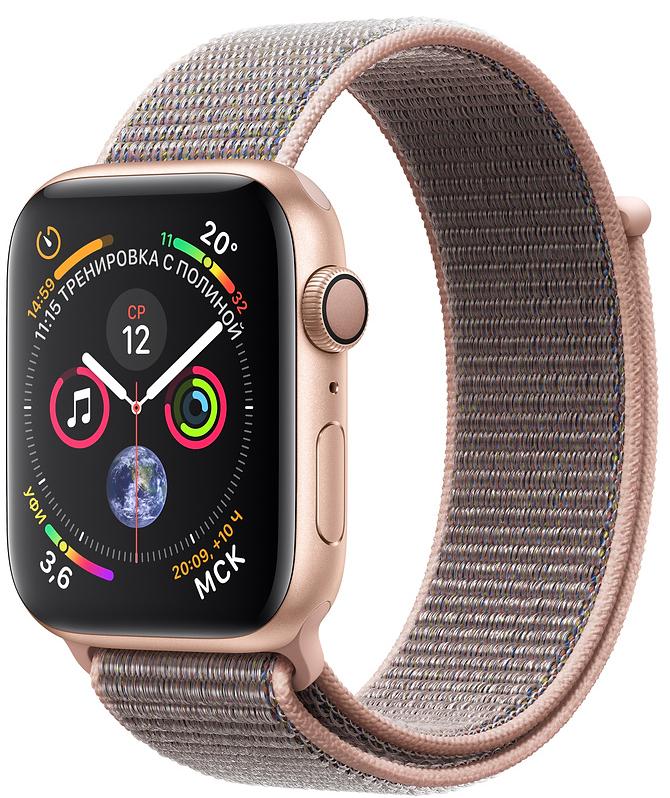 Apple Watch Series 4, 44 мм, корпус из алюминия золотого цвета, спортивный браслет цвета «розовый песок» (MU6G2)