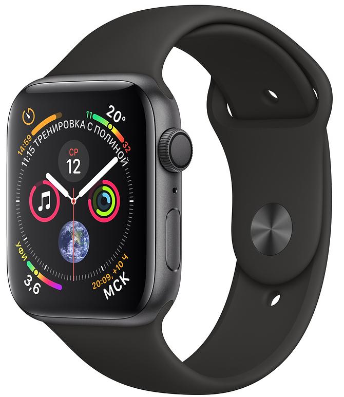 Apple Watch Series 4, 40 мм, корпус из алюминия цвета «серый космос», спортивный ремешок чёрного цвета (MU662)