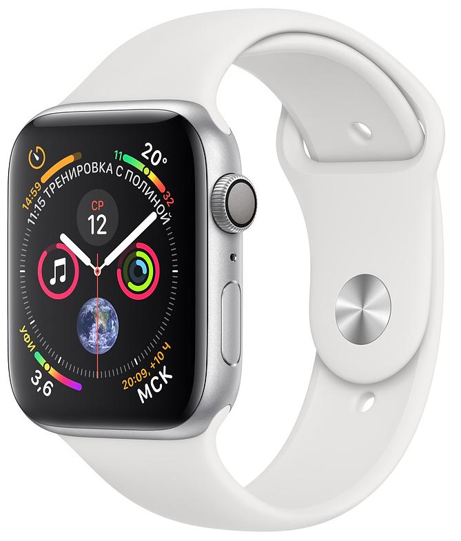 Apple Watch Series 4, 40 мм, корпус из алюминия серебристого цвета, спортивный ремешок белого цвета (MU642)