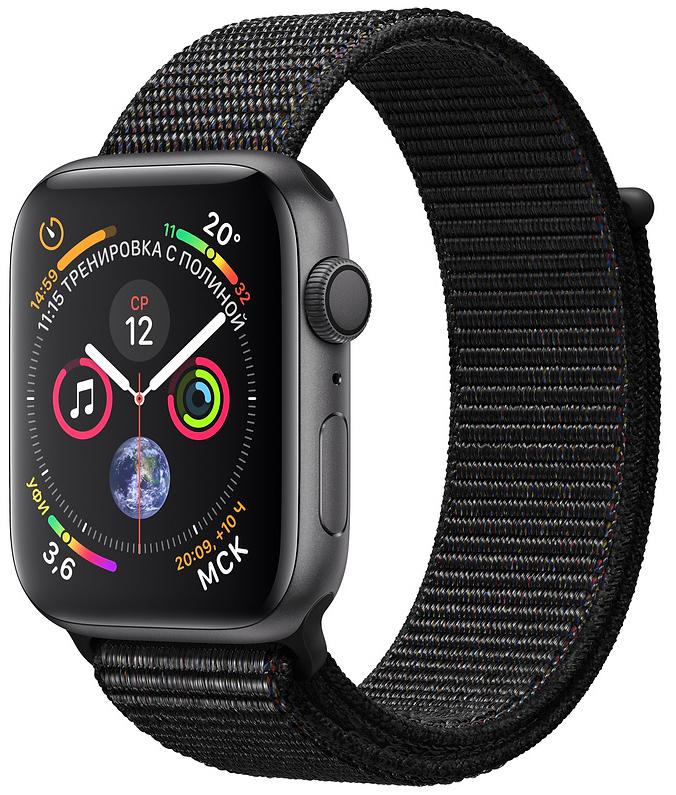 Apple Watch Series 4, 40 мм, корпус из алюминия цвета «серый космос», нейлоновый браслет чёрного цвета (MU672)