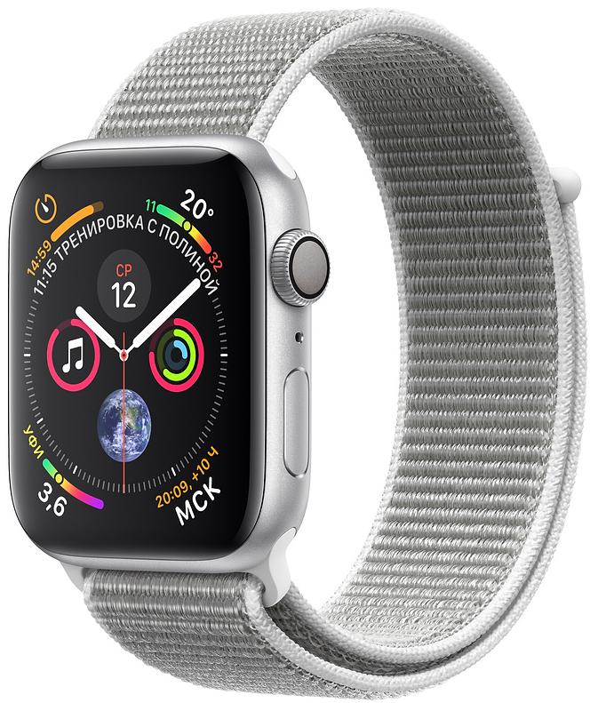 Apple Watch Series 4, 40 мм, корпус из алюминия серебристого цвета, нейлоновый браслет цвета «белая ракушка» (MU652)