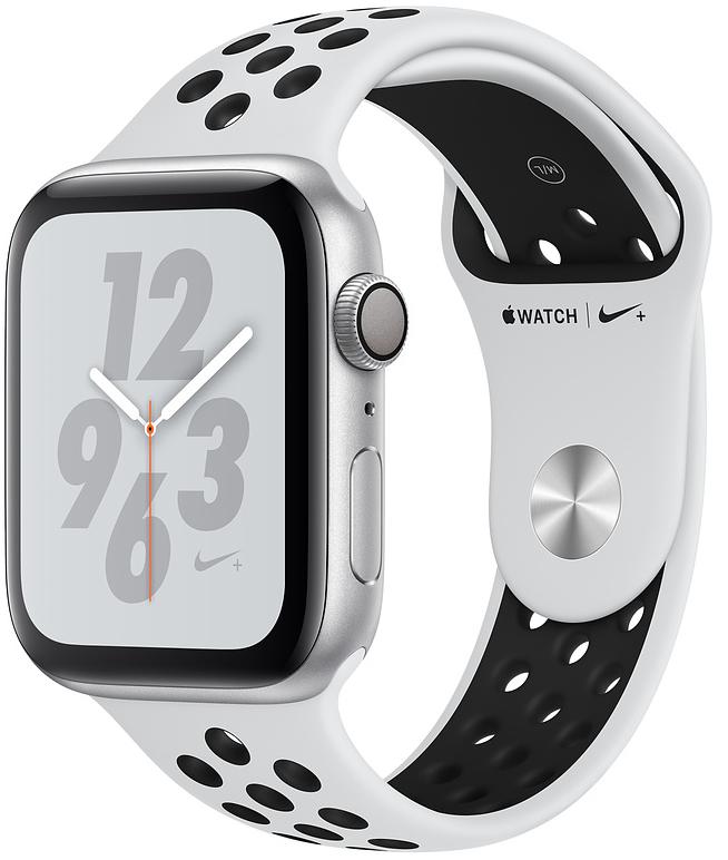Apple Watch Nike+ Series 4, 44 мм, корпус из алюминия серебристого цвета, спортивный ремешок Nike цвета «чистая платина/чёрный» (MU6K2)