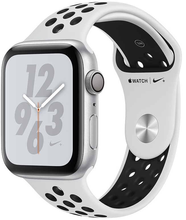 Apple Watch Nike+ Series 4, 40 мм, корпус из алюминия серебристого цвета, спортивный ремешок Nike цвета «чистая платина/чёрный» (MU6H2)