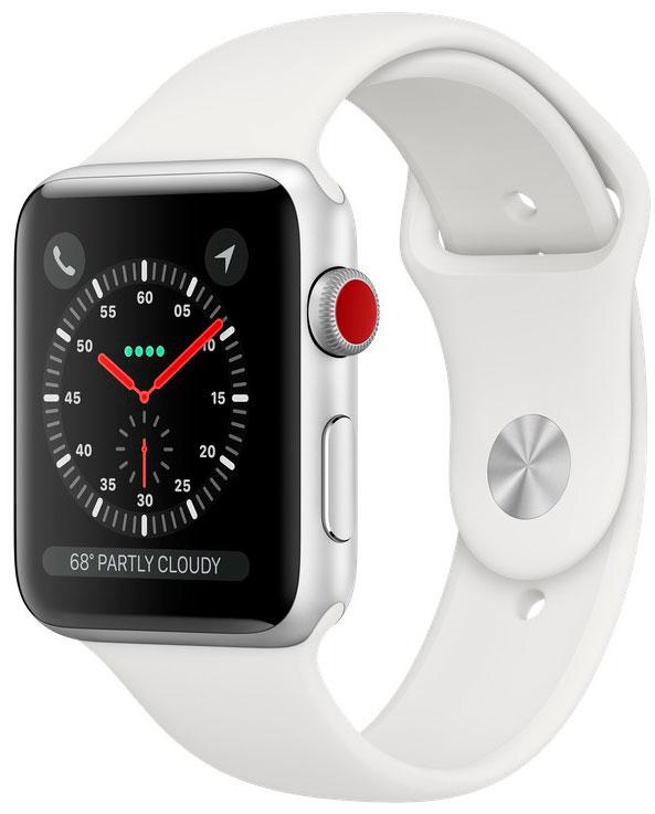 Apple Watch Series 3 Cellular 42мм, корпус из серебристого алюминия, спортивный ремешок белого цвета (MTGR2)
