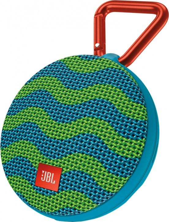 Портативная колонка JBL Clip 2 Splash (с зелено-голубым орнаментом)