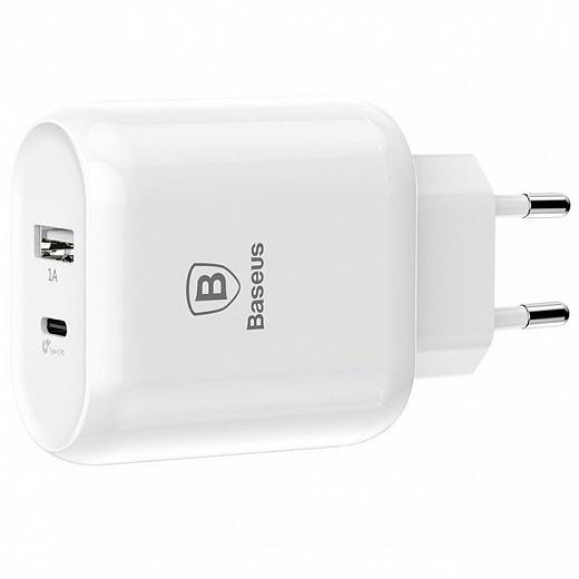 Сетевое зарядное устройство Baseus Bojure с разъемом Type-C + USB quick charge (белый)