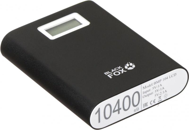 Портативное зарядное устройство Black Fox BMP 104 10400 мАч LCD черного цвета