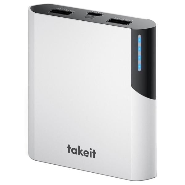Портативное зарядное устройство Takeit Rock 10400 White