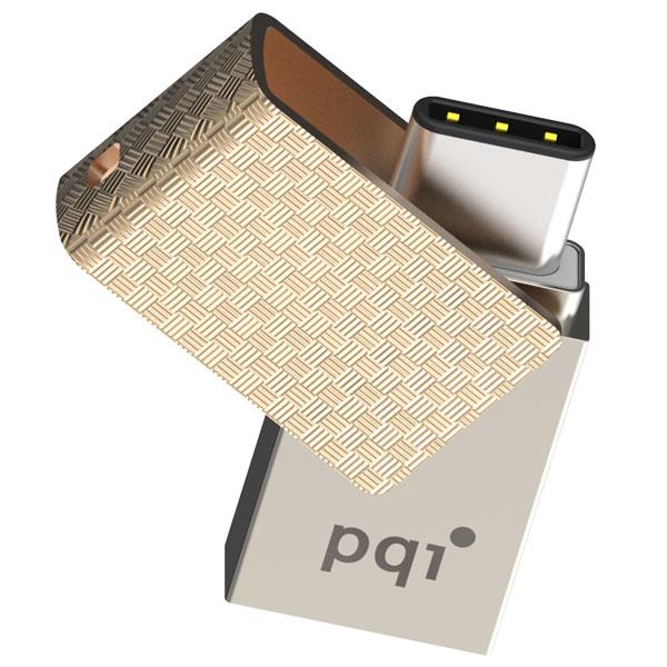 Адаптер USB-C и USB флешка PQI Connect 313 на 16GB (золотистый)