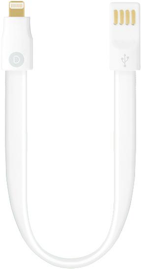 Кабель Deppa 8-pin для iPhone 5s,6 и iPad Air короткий 0.23 с магнитным фиксатором (белый)