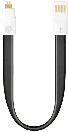 Кабель Deppa 8-pin для iPhone 5s,6 и iPad Air короткий 0.23 с магнитным фиксатором (черный)