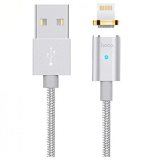 Кабель магнитный Hoco U16 Magnetic Cable USB Lightning 1,2 m (серебро)