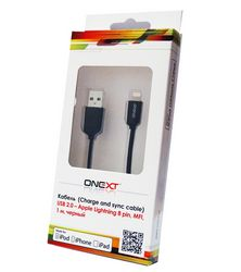 Кабель Onext Premium USB Lightning 1m (черный)