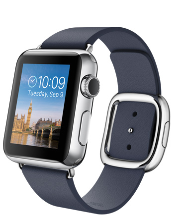 Apple Watch Blue Modern Корпус 38 мм размер L, нержавеющая сталь, тёмно-синий ремешок с современной пряжкой (38mm Stainless Steel Case with Midnight Blue Modern Buckle) (MJ352)