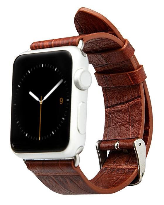 Ремешок из натуральной кожи Jisoncase для Apple Watch 42 мм (коричневый)
