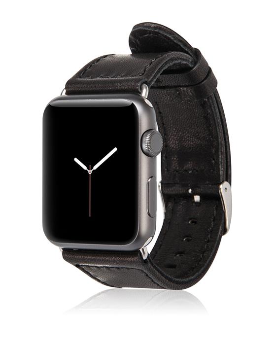 Ремешок из натуральной кожи Jisoncase для Apple Watch 42 мм (чёрный)