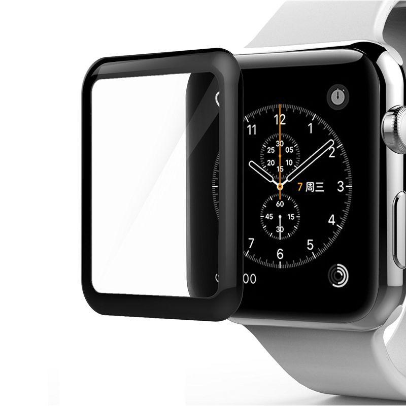 Защитное стекло 3D Full screen для Apple Watch series 1/2/3 42 mm (черная рамка)