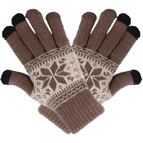 Перчатки шерстяные Beewin Smart Gloves BW-35BR для iPhone/iPod/iPad размер L (коричневые )