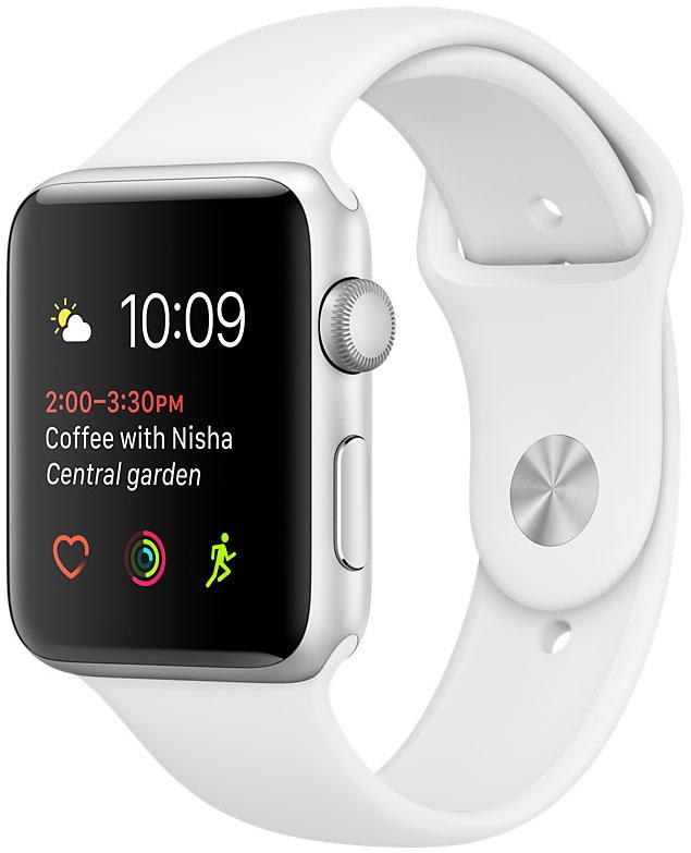 Apple Watch Series 2, Корпус 42 мм из серебристого алюминия, спортивный ремешок белого цвета (MNPJ2)