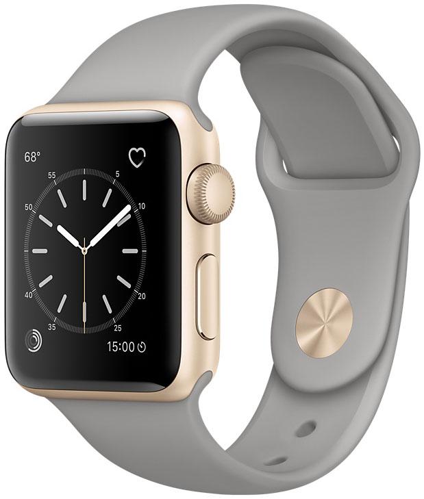 Apple Watch Series 2, Корпус 38 мм из золотистого алюминия, спортивный ремешок цвета «серый камень» (MNP22)