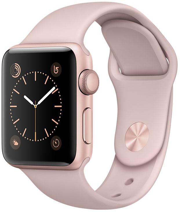 Apple Watch Series 2, Корпус 38 мм из алюминия цвета «розовое золото», спортивный ремешок цвета «розовый песок» (MNNY2)