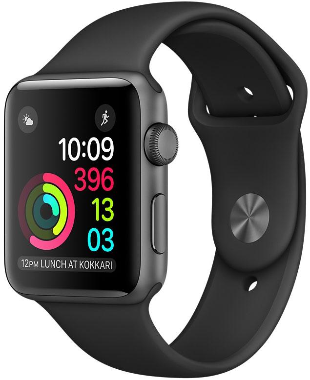 Apple Watch Series 2, Корпус 38 мм из алюминия цвета «серый космос», спортивный ремешок чёрного цвета (MP0D2)