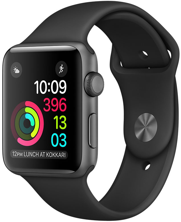 Apple Watch Series 2, Корпус 42 мм из алюминия цвета «серый космос», спортивный ремешок чёрного цвета (MP062)