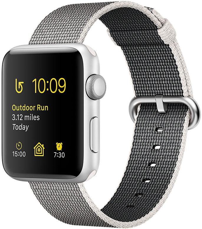 Apple Watch Series 2, Корпус 42 мм из серебристого алюминия, ремешок из плетёного нейлона жемчужного цвета (MNPK2)