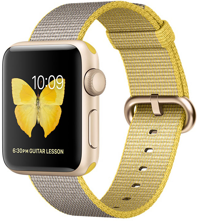 Apple Watch Series 2, Корпус 38 мм из золотистого алюминия, ремешок из плетёного нейлона цвета «жёлтый/светло‑серый» (MNP32)