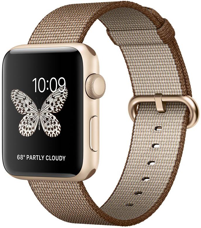 Apple Watch Series 2, Корпус 42 мм из золотистого алюминия, ремешок из плетёного нейлона цвета «кофейный/карамельный» (MNPP2)