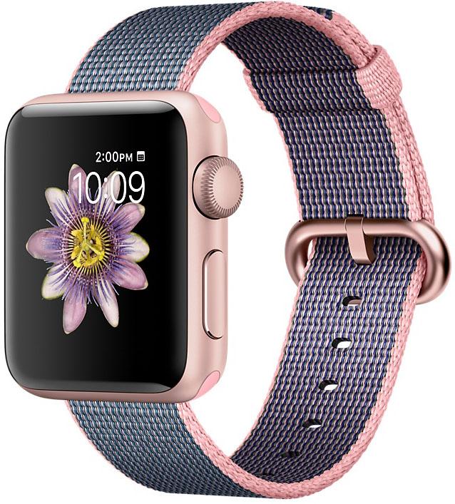 Apple Watch Series 2, Корпус 38 мм из плетёного нейлона цвета «светло‑розовый/тёмно‑синий» (MNP02)