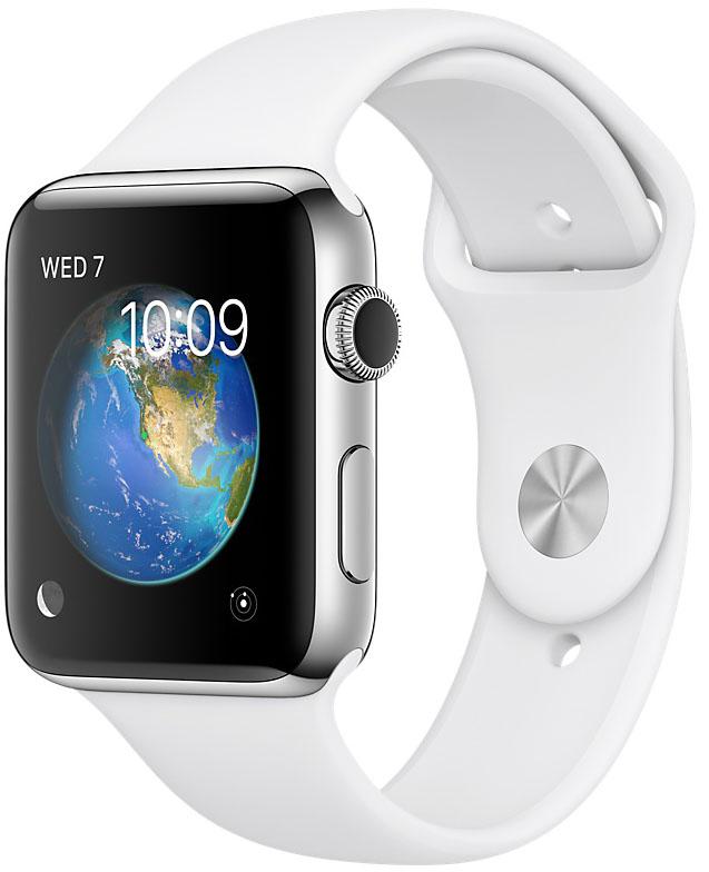 Apple Watch Series 2, Корпус 42 мм из нержавеющей стали, спортивный ремешок белого цвета (MNPR2)