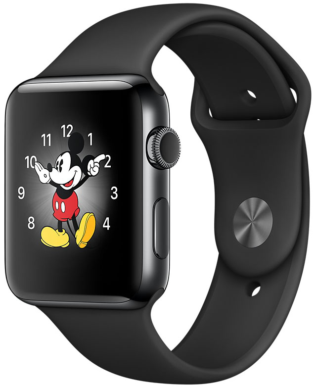 Apple Watch Series 2, Корпус 38 мм из нержавеющей стали цвета «чёрный космос», спортивный ремешок чёрного цвета (MP492)