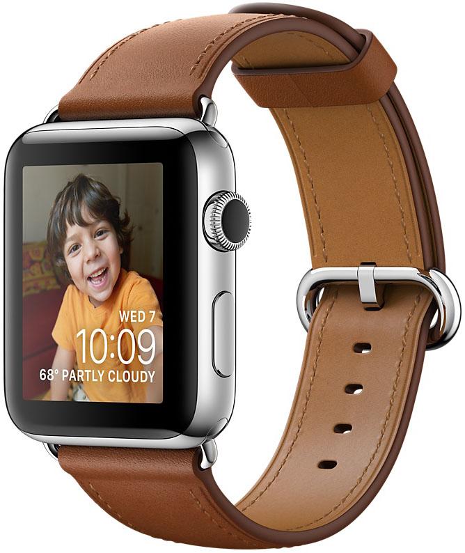 Apple Watch Series 2, Корпус 38 мм из нержавеющей стали, ремешок золотисто-коричневого цвета с классической пряжкой (MNP72)