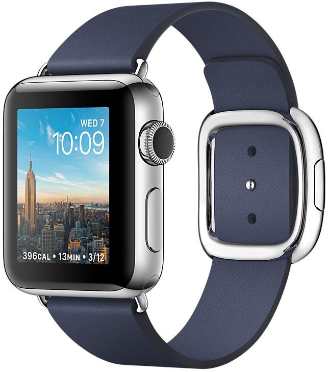Apple Watch Series 2, Корпус 38 мм из нержавеющей стали, ремешок тёмно‑синего цвета с современной пряжкой (MNP82)