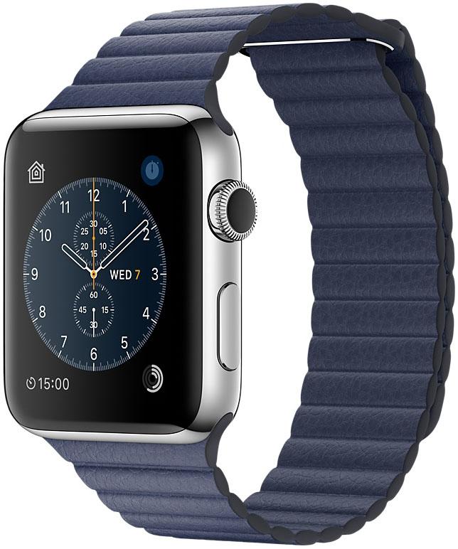 Apple Watch Series 2, Корпус 42 мм из нержавеющей стали, кожаный ремешок тёмно‑синего цвета (MNPW2)