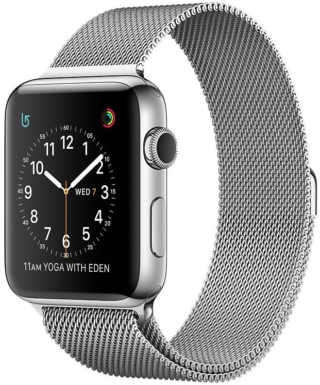 Apple Watch Series 2, Корпус 38 мм из нержавеющей стали, миланский сетчатый браслет (MNP62)